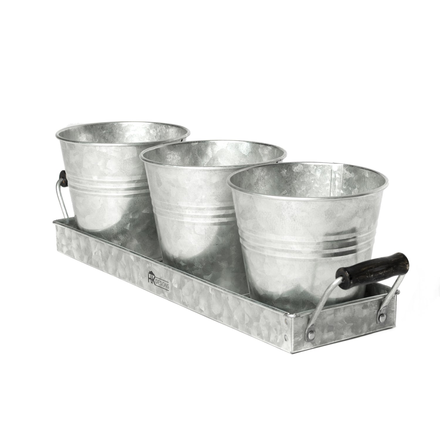 H & K Designs - Silverware Picnic Caddy - Farmhouse Decor, Galvanized Metal Planter with Wooden Handles and 3 Buckets - Rustic Tray Set Organizer AM3 Industries Inc. IR 14161