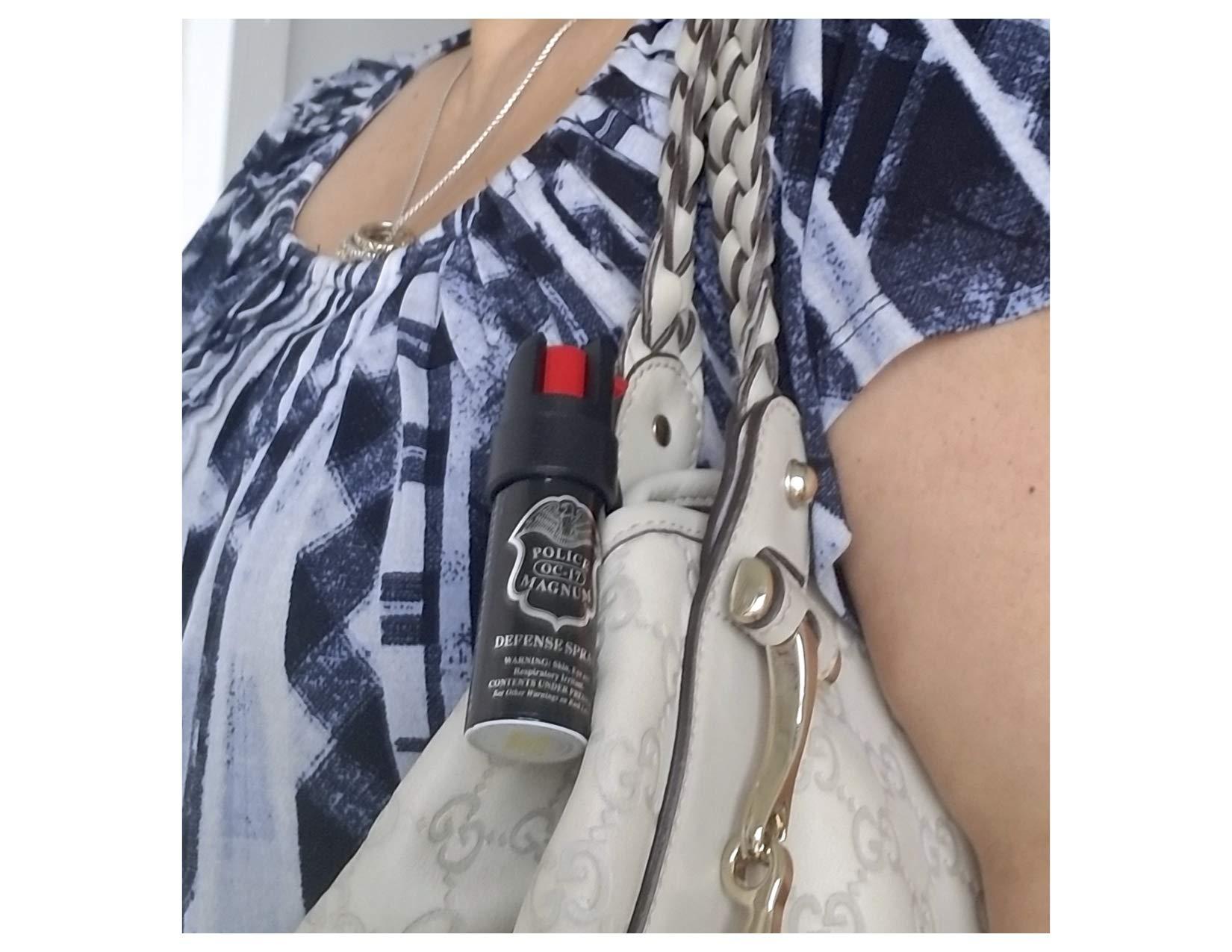 POLICE MAGNUM Pepper Spray Police Strength Self Defense OC Black Pepper Spray Set 6 Pack 0.5 oz Twist Top Pocket Clip UV Identifying Dye - Pepper Sprays Self Defense for Women Multiple Blasts 12ft by POLICE MAGNUM