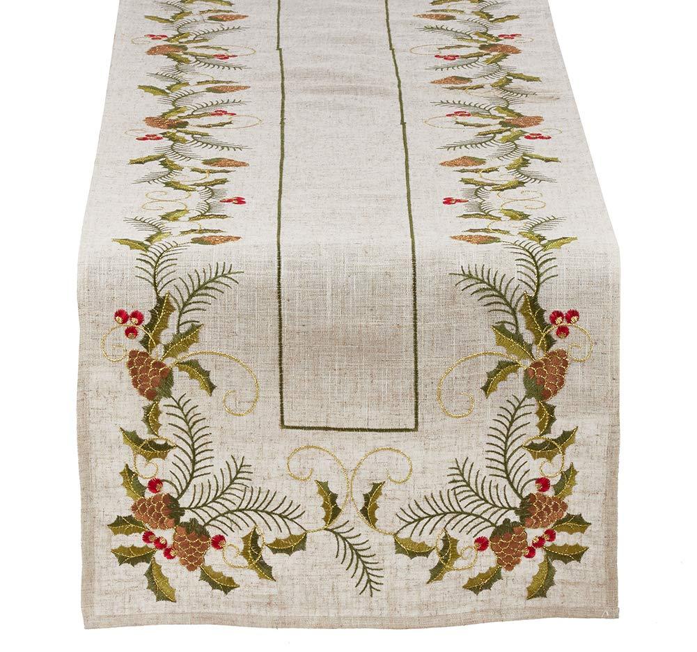 Fennco Styles ホリデー刺繍入り松ぼっくりとヒイラギのポリリネン ナチュラルテーブルリネンコレクション 16