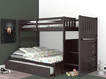 Amazon Com Discovery World Furniture Twin Over Full Staircase Bunk Bed With Twin Trundle Espresso Furniture Decor