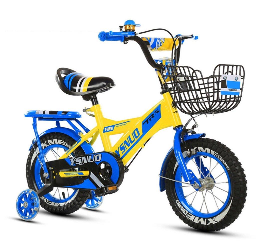 子供の自転車12|14|16|18インチアウトドアの子供ベイビーキッドマウンテンバイクフラッシュトレーニングホイールで2歳から10歳の男の子の女の子の贈り物|アイアンバスケット|スポンジ背もたれセーフロード50KG B0789G7DJ2 12インチ|青 青 12インチ