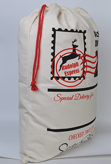 Amazon.com: Aoloshow Cotton Bag Canvas Santa Sack with Personalized for Storking: Jewelry