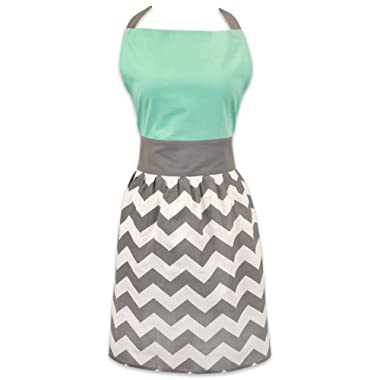 DII Women's Adjustable Cooking Apron Dress with Extra Long Ties, 31 x 28 , - Chevron