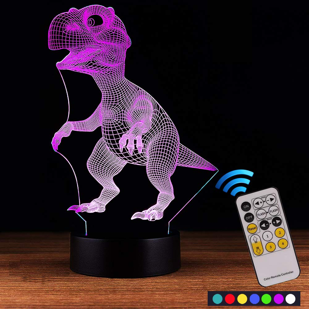 Carryfly Dinosaur Night Light Kids Night Light Optical Illusion 7 Colors Change with Remote Birthday Gifts for Baby Amazing Light (Dinosaur)
