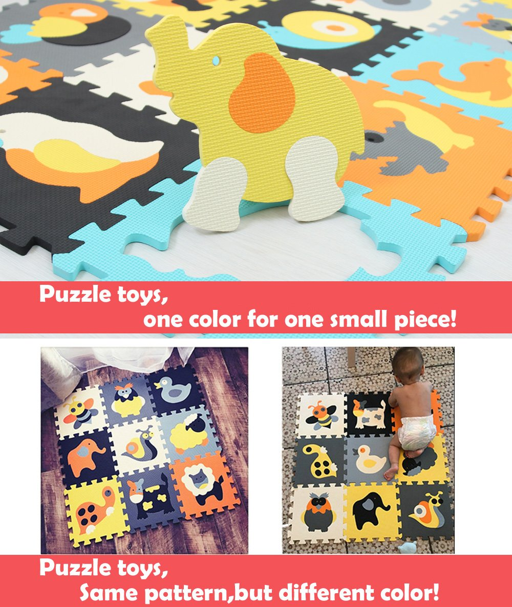 MQIAOHAM Foam Play Mat for Babies and Children EVA Foam Floor Tiles Thicker and Softer Puzzle Mat for Crawling and Learning 100/% Safe Non-Toxic Odorless P013B3010