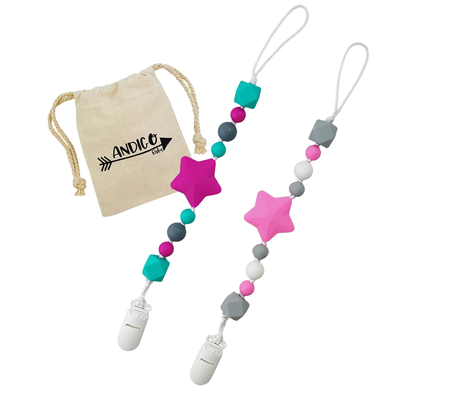 Pacifier Clip Holder - 2 in 1 - with Silicone Teething Beads, for Girls, Boys, Unisex, Set of Two, Compatible with MAM, Soothie, NUK, Tommee Tippee and Other Pacifiers - Blue/Turquoise ANDIGO