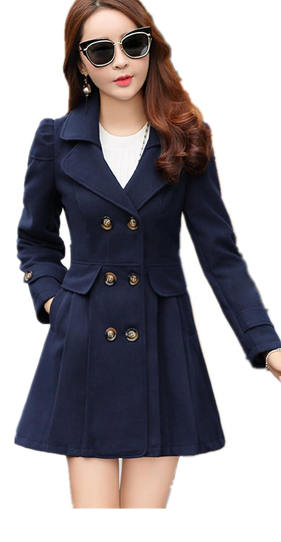 lingswallowレディースヴィンテージラペルトレンチコートダブルブレストウールジャケット B0746G1NWS M|ブルー2 ブルー2 M
