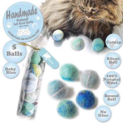 BALLMIE Felt Wool Cat Toys Ball with Catnip and Bell, Natural Handmade (Baby Blue