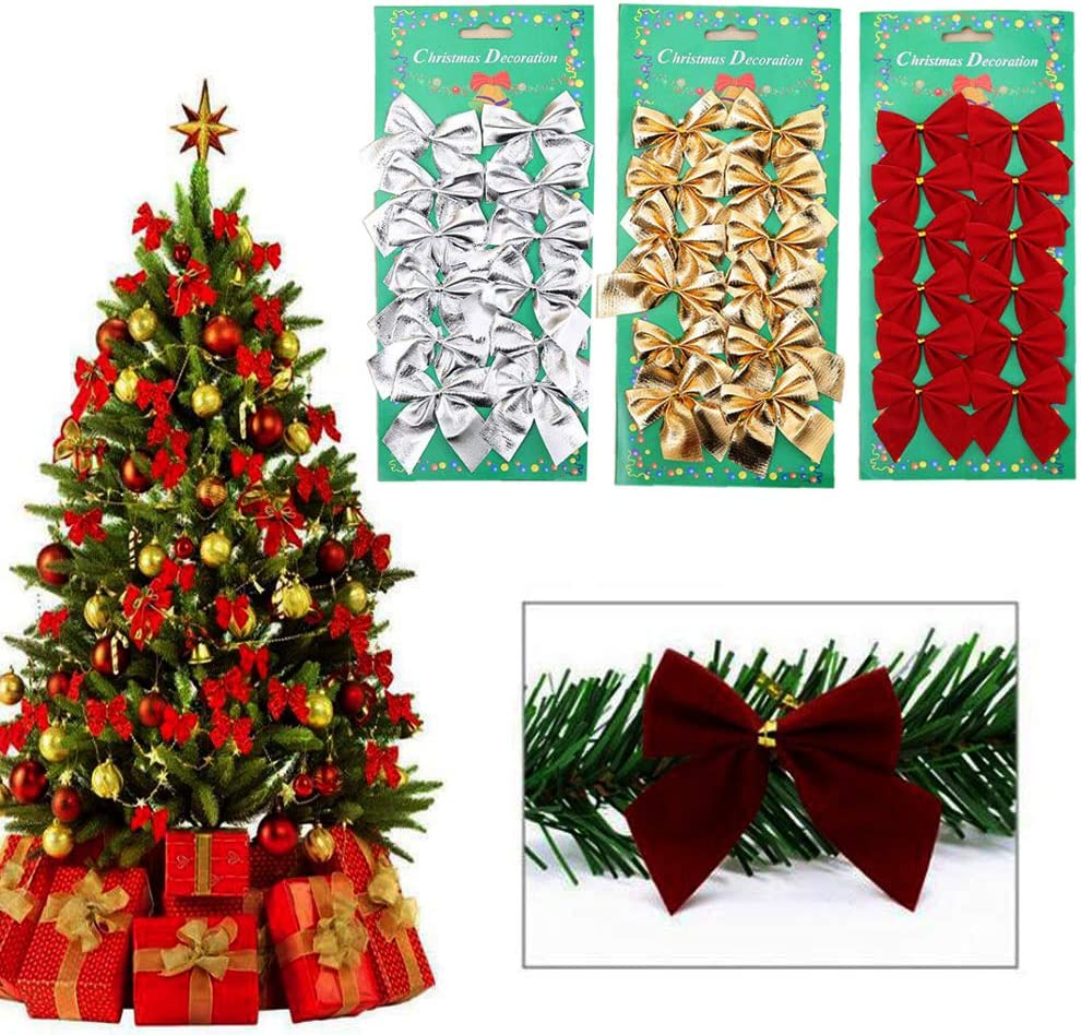 24  Red Gold Silver Christmas Bows Bowknot Tree Ornaments XMAS Decoration 12