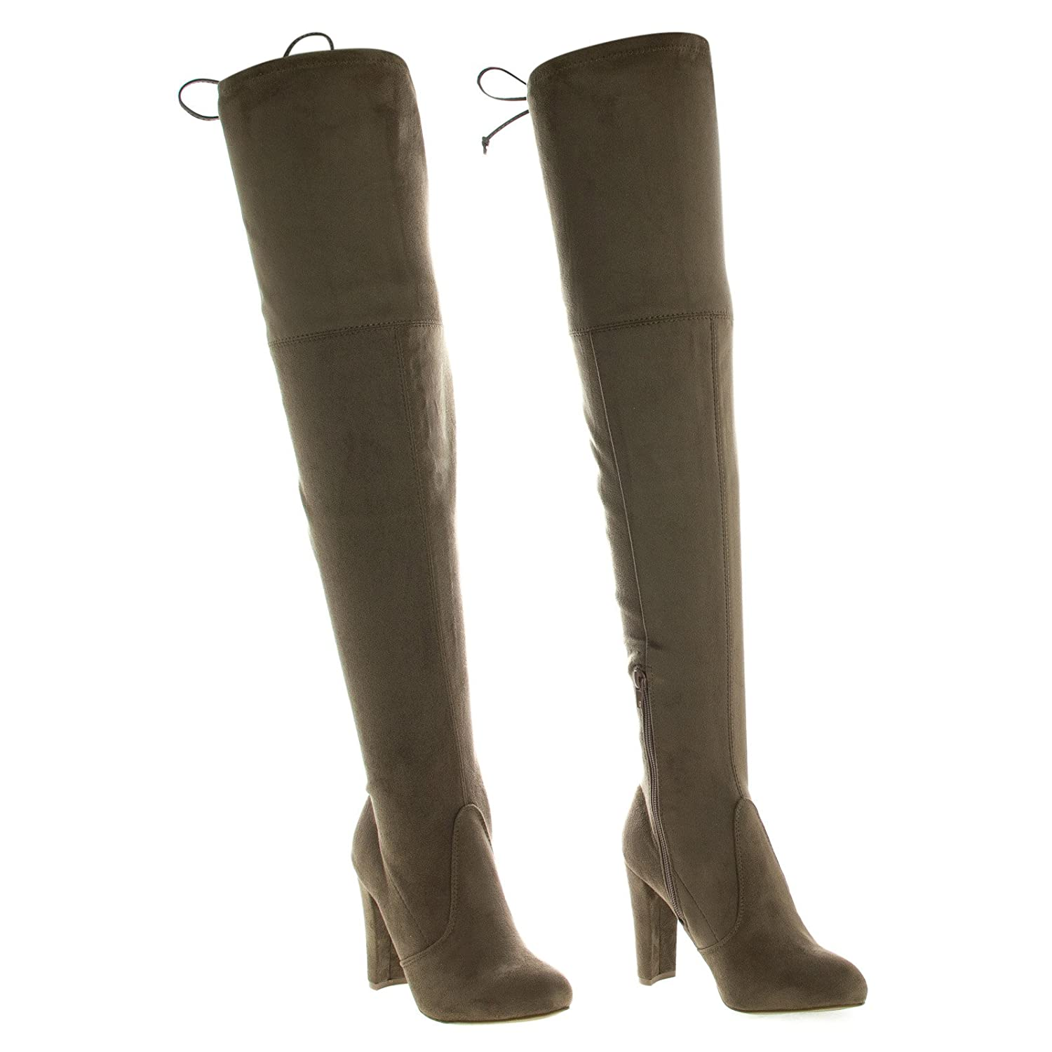 M Wild Diva Womens Floral Embroidered Thigh High Stacked Chunky Heel Boot,9 B US,Taupesuede