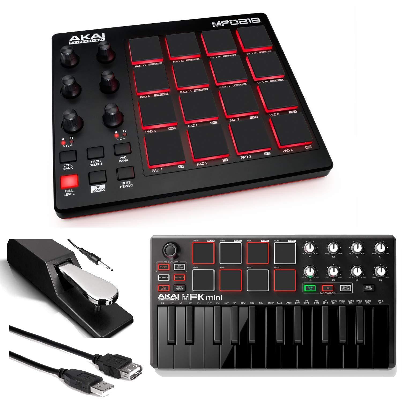 Akai Professional MPD218 | MIDI Drum Pad Controller with Akai MPK Mini MKII | 25-Key Portable USB MIDI Keyboard (Black) + Pedal & USB Cable - Top Value Bundle