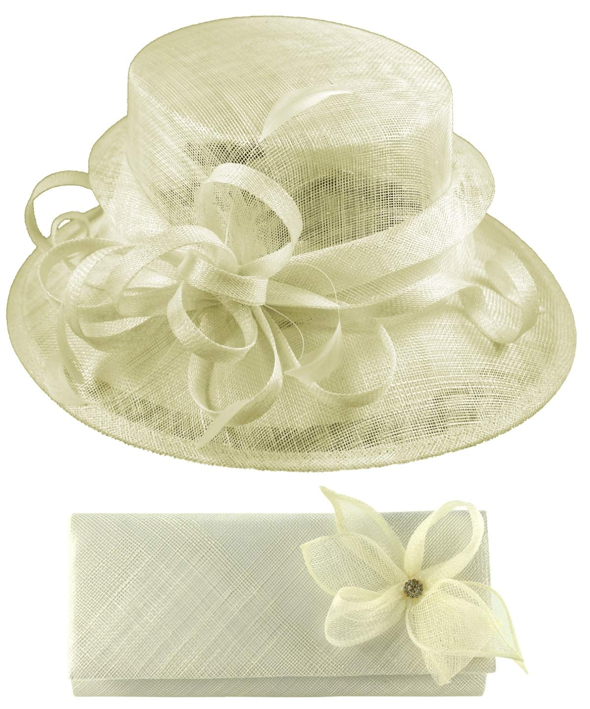 Elegance Collection Sinamay Wedding Hat Bundle with Matching Sinamay Bag (2 Items) in Ivory, Size: Medium (57cm)