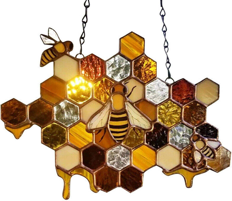 WISATHY Stained Plastic Window Hangings Beehive Suncatcher Windows Panel Queen Bee Protect Honeycomb Pendant for Home, Garden,Yard Decor