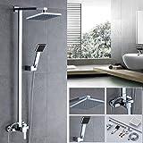 Set doccia soffione,Auralum® soffione doccia rettangolare + manopola doccia + interruttore miscelatore rubinetto da parete in cromato ottone,Alta qualità di docce fisse