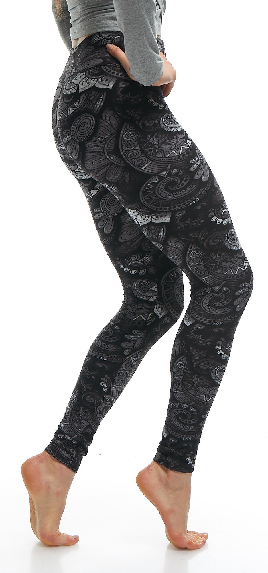 LMB Lush Moda Extra Soft Leggings with Designs- 505YF Floral Abstract Yoga by LMB (Image #4)