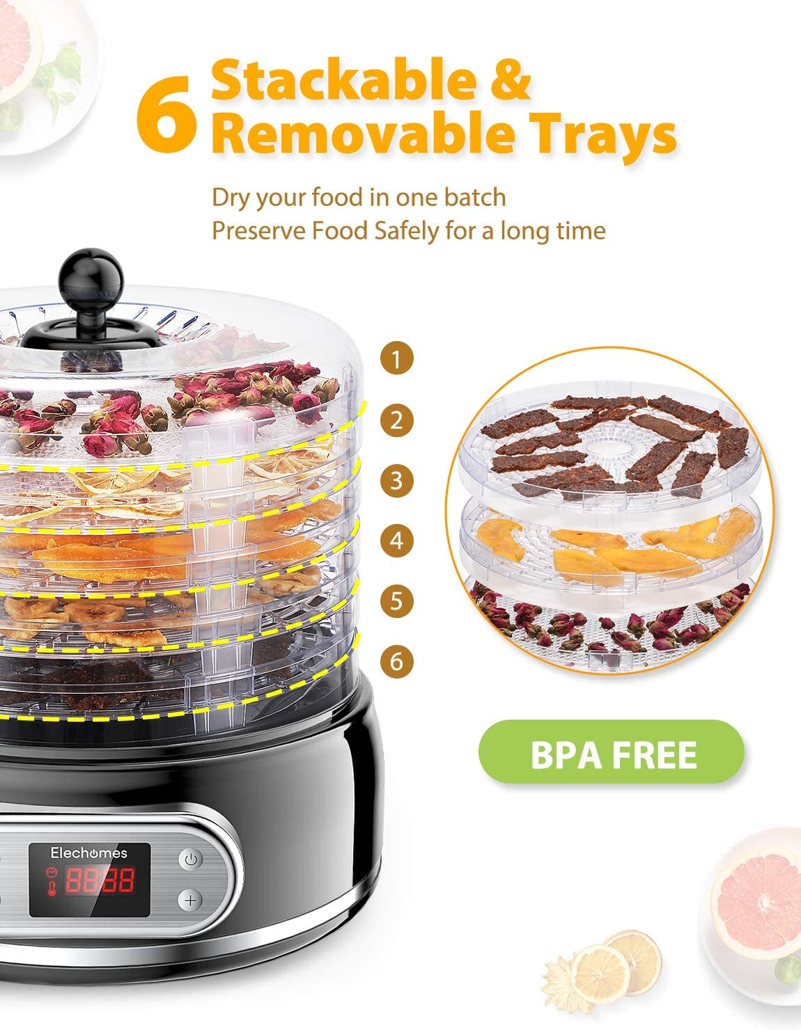 Elechomes-6-Tray-Food-Dehydrator-for-Beef-Jerky-Meat-Fruit-Dog-Treats-Herbs-Vegetable