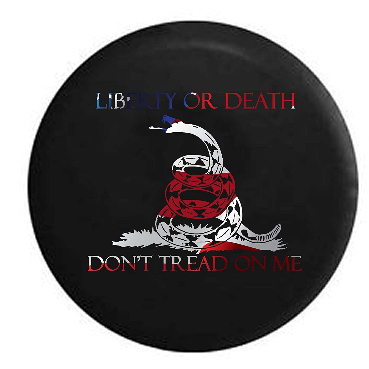 Liberty or Death Dont Tread On Me Gadsgen Snake US Rights Trailer RV Spare Tire Cover OEM Vinyl Black 32 in Pike Outdoors Pike Stealth