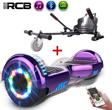 RCB Patinete Eléctrico Self Balancing Scooter de Auto-Equilibrio Luces LED Integradas con Hoverkart Go-Kart Bluetooth Regalo para Niños y Adultos 6.5: Amazon.es: Deportes y aire libre