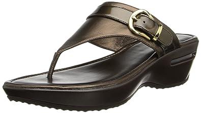 fc1823e3066 Cole Haan Women's Maddy Tant Thong Wedge Sandal, Dark Chocolate Metallic,  ...