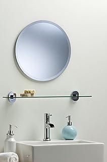 BATHROOM WALL MIRROR Simple Design ROUND WITH BEVEL Frameless Plain Mirror 40cm X
