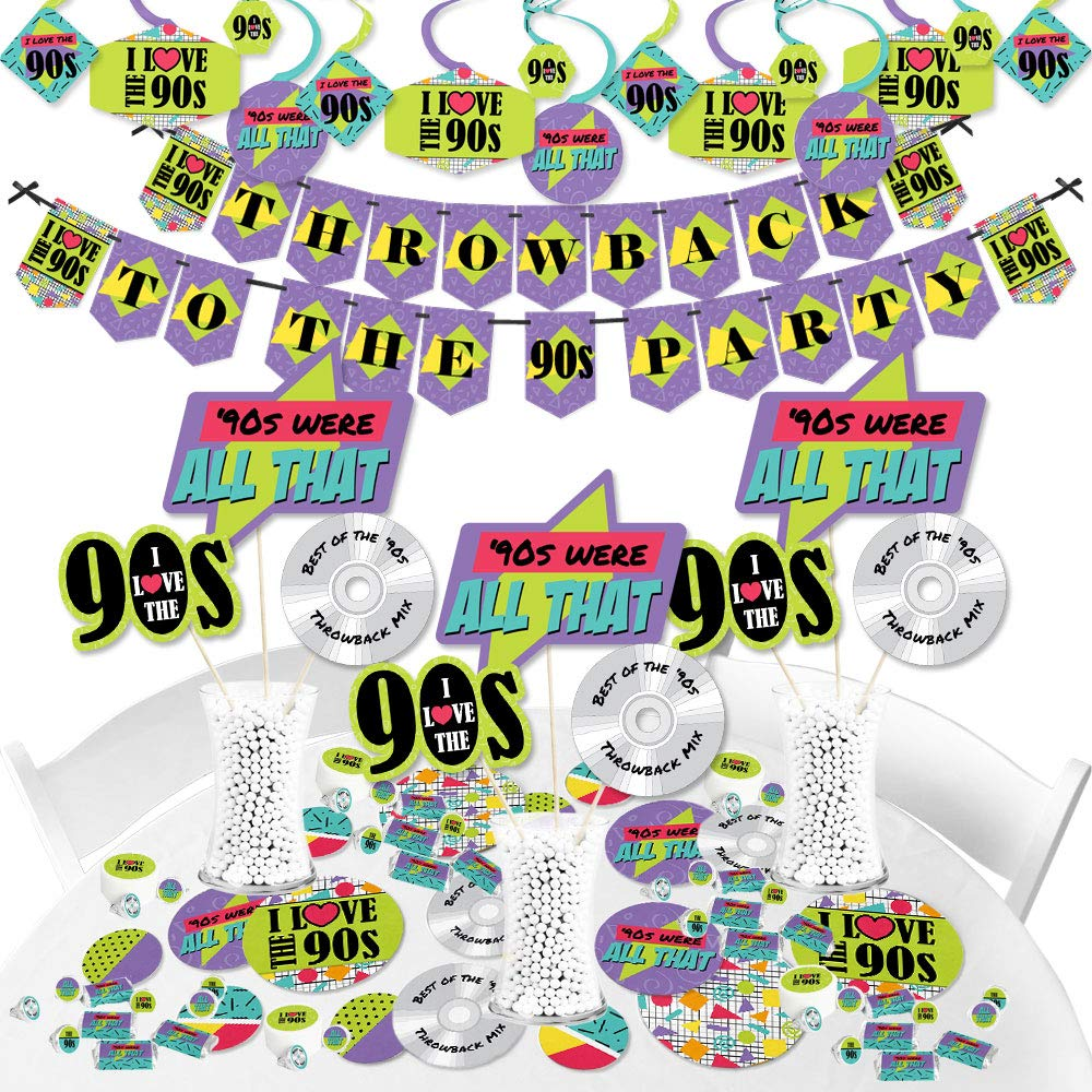 Big Dot of Happiness 90's Throwback - 1990s Party Supplies - Banner Decoration Kit - Fundle Bundle