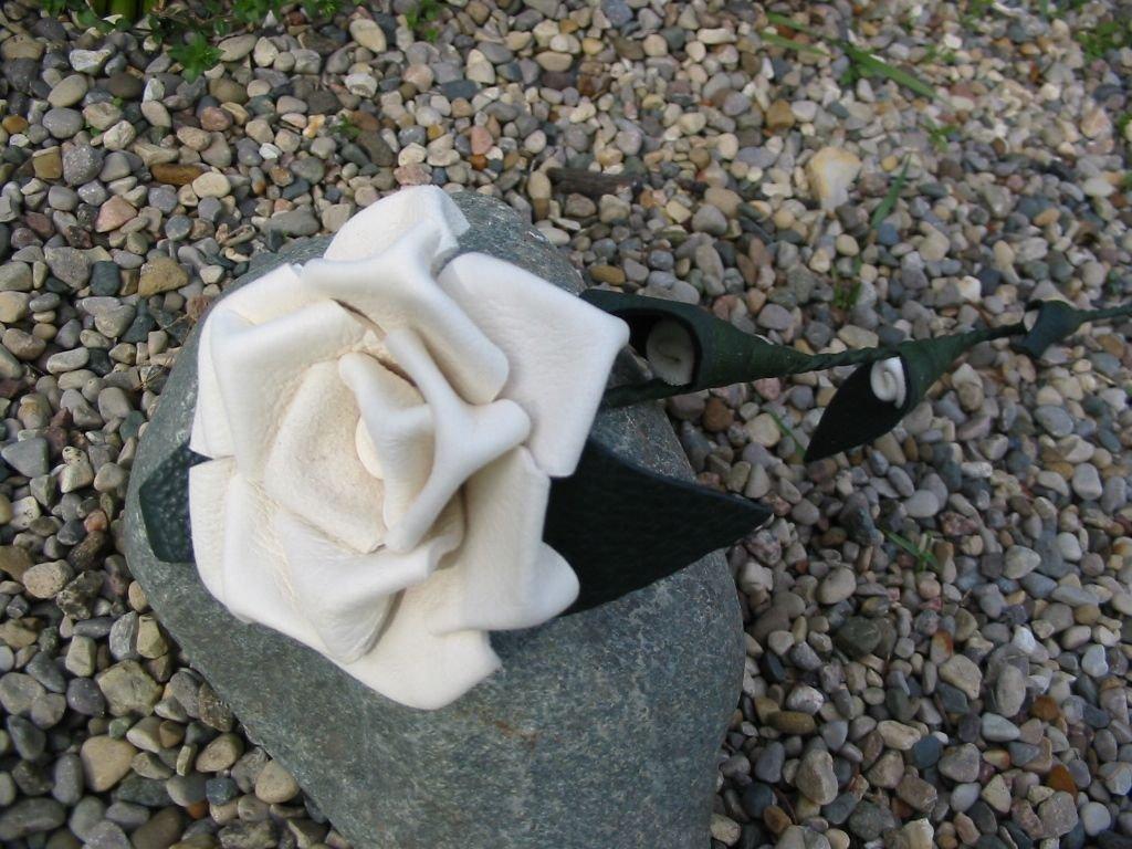 silk flower arrangements leather rose - white - third anniversary valentines day birthday gift