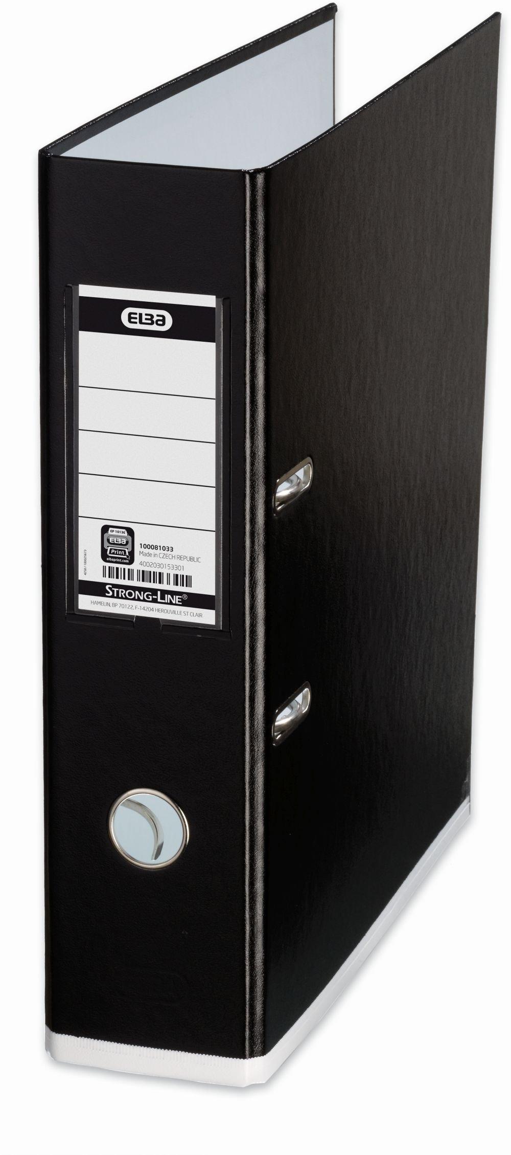 Elba MyColour Lever Arch File Polypropylene Capacity 80mm A4 Black and White Ref E104890901