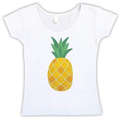 b34a4d48f8 Piña Amarilla Camiseta Blanca Mujer: Amazon.es: Handmade