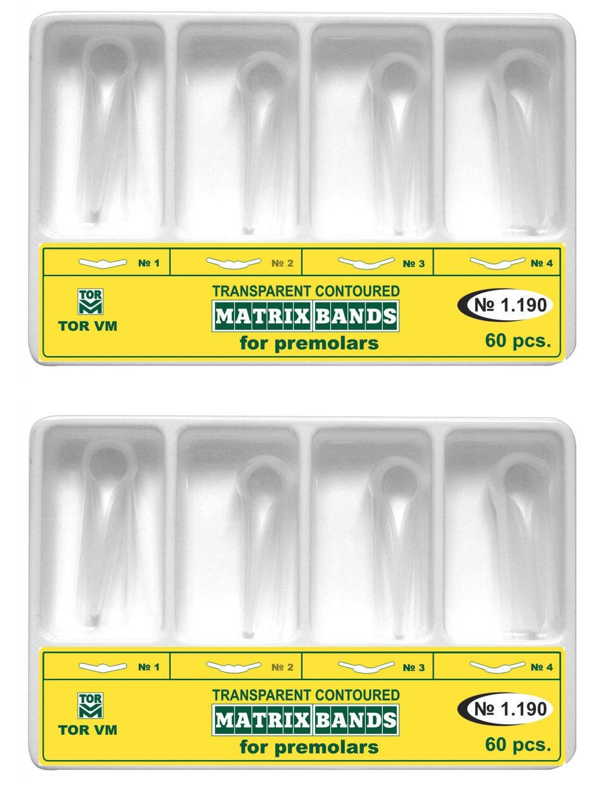 Lot x 2 Dental Kit of Premolar Transparent Contoured Matrix Matrices Bands 60 pcs./pack