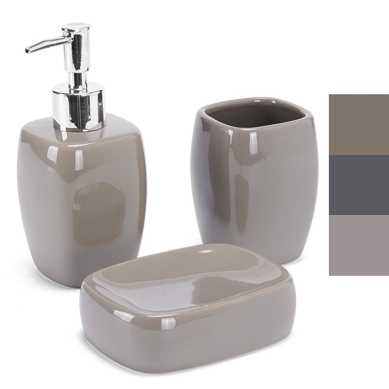 MSV MS1211/140449-3 recipientes de cerámica para baño plato dejabón, dispensadores y vidrio para el cepillo de dientes: Amazon.es: Hogar