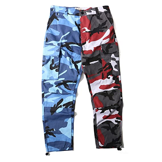 Frozac 2018 New Pants Mens Hip Hop Patchwork Cargo Casual Street Wear Orange XXL at Amazon Mens Clothing store: