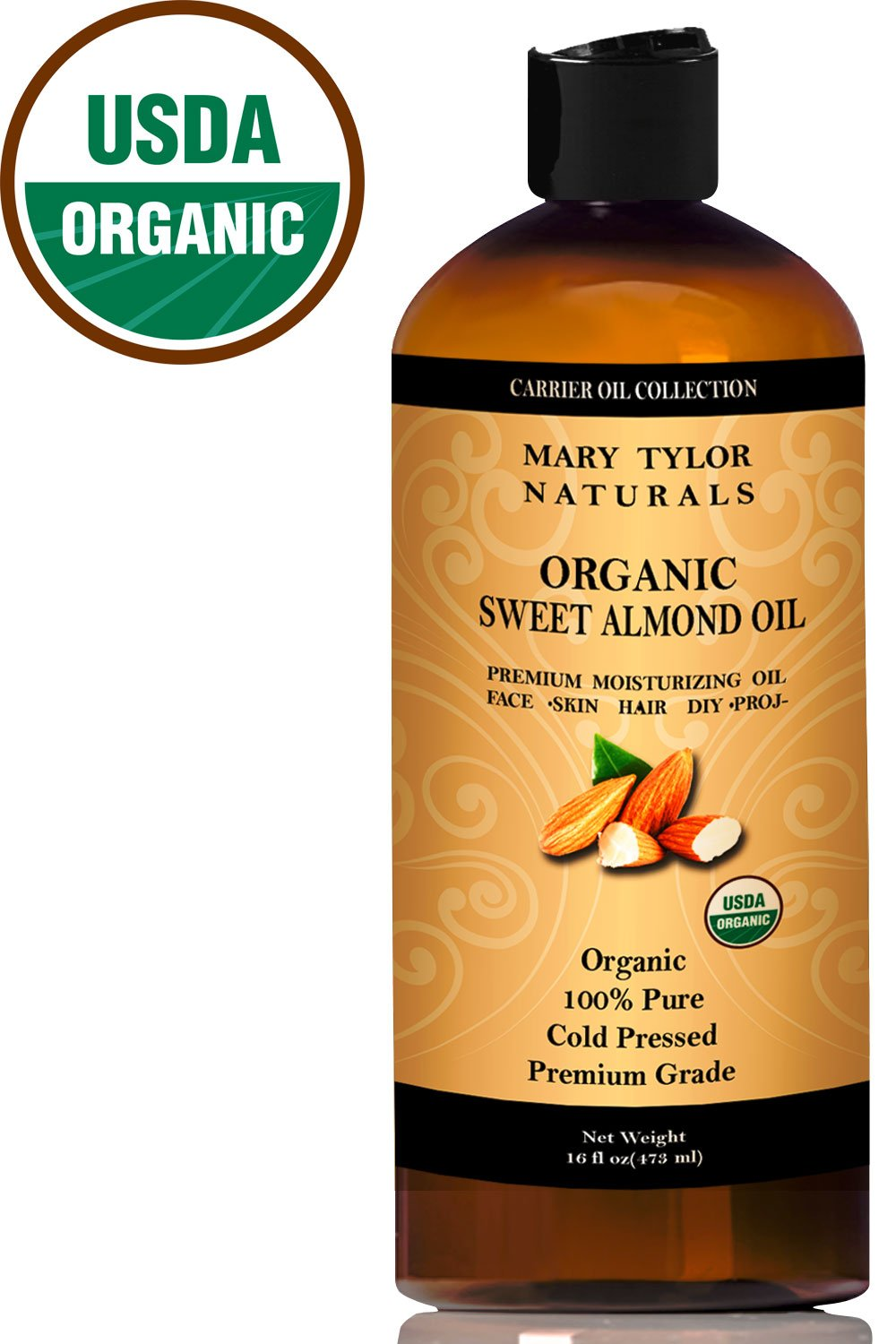 Organic Sweet Almond Oil 16 oz, USDA Certified, Cold Pressed, Premium Grade, 100% Pure, Amazing Moisturizer for Skin Best Carrier oil for all Your DIY Projects Great as Baby Oil by Mary Tylor Naturals
