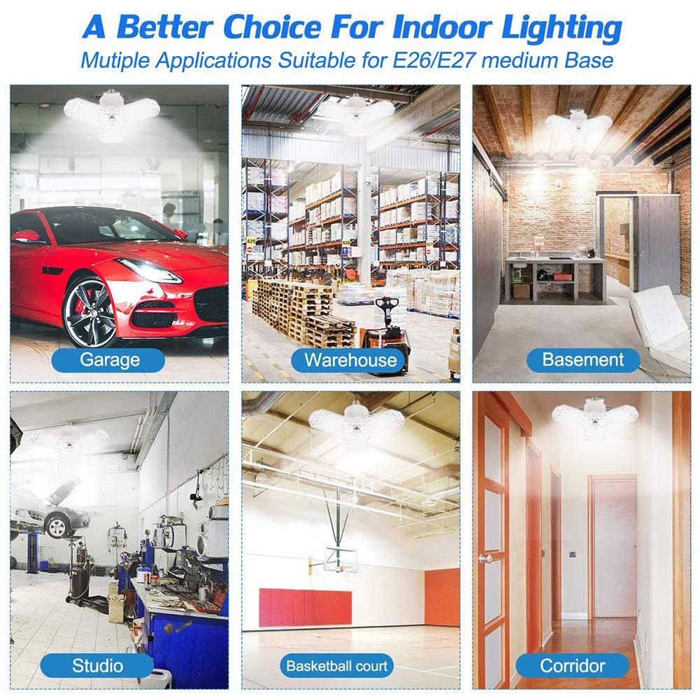 NO Motion Activated CHUANGE LED Garage Lights,60W E26//E27 6000LM Deformable LED Garage Ceiling Lights,LED Shop Lights,Barn Light with 3 Adjustable Panels for Garage,Warehouse,Corridor