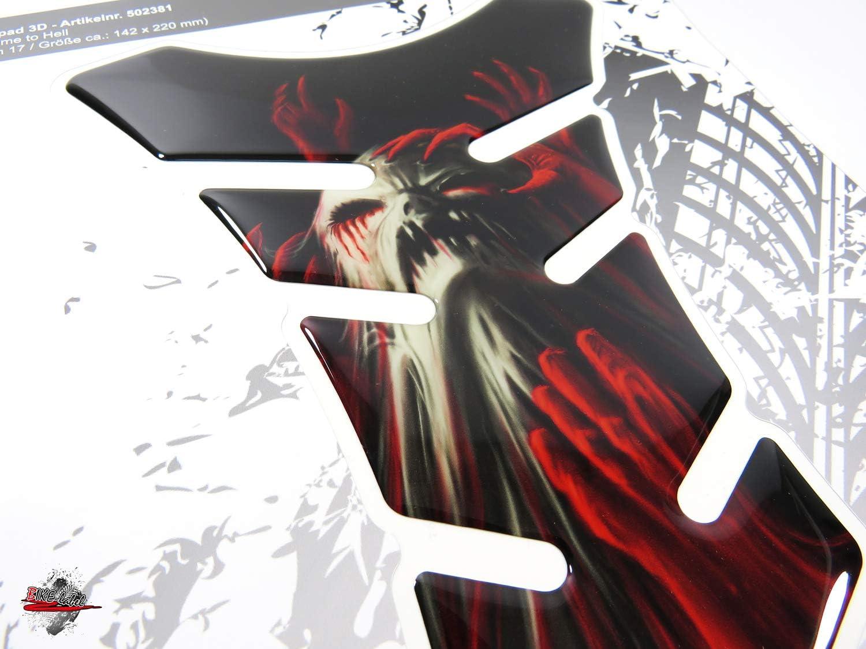 502381VA Tankpad 3D Totenkopf Geist universeller Motorrad Tank Aufkleber