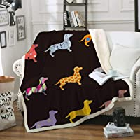 "Sleepwish Dachshund Sherpa Blanket Cartoon Puppy Dog Fleece Plush Throw Blanket Kids Wiener Geometric Pattern Blankets (50"" x 60"")"