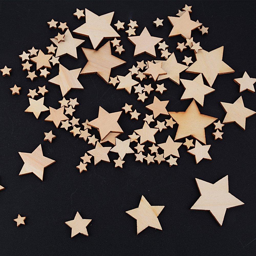 JNCH 300pcs 10mm+20mm+30mm+40mm Embellissement Tranches de Coeur en Bois Naturel pour Nature Decoration de Table Mariage Confettis DIY Scrapbooking Coeur//Etoile