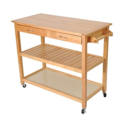 HomCom 45u201d Wood Kitchen Utility Trolley Island Cart