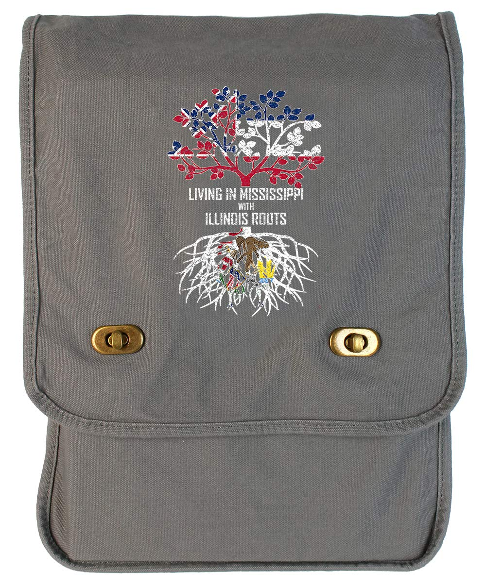 Tenacitee Living In Mississippi with Illinois Roots Grey Brushed Canvas Messenger Bag