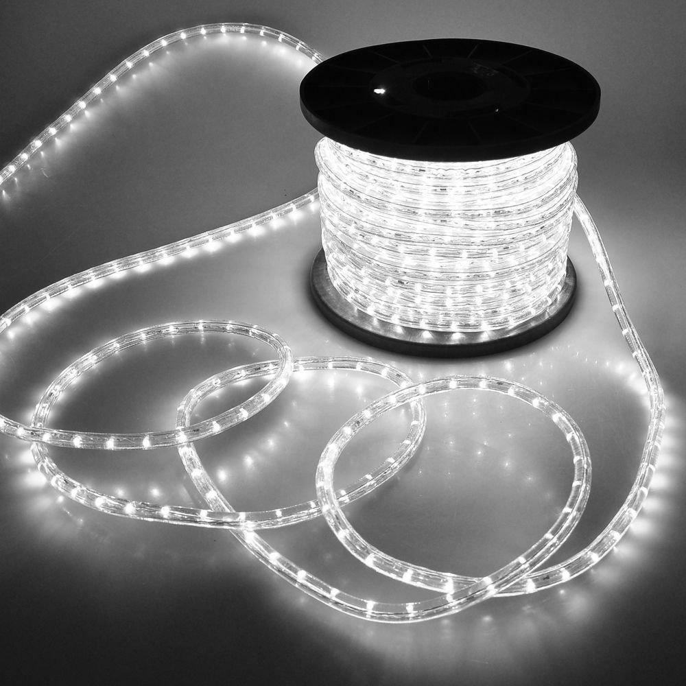 150' Feet Cool White Wire LED Rope Light Home Outdoor Christmas Lighting 110v