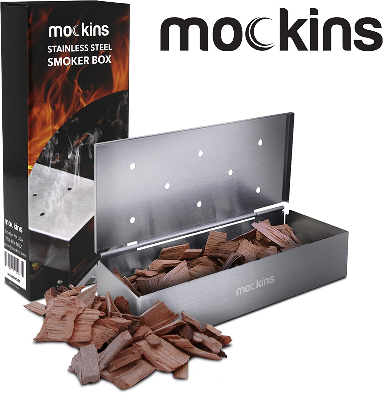 Mockins Stainless Steel BBQ Smoker Box for Grilling Barbecue Wood Chips On Gas Grill or Charcoal Grill - Grilling Accessories: Garden & Outdoor