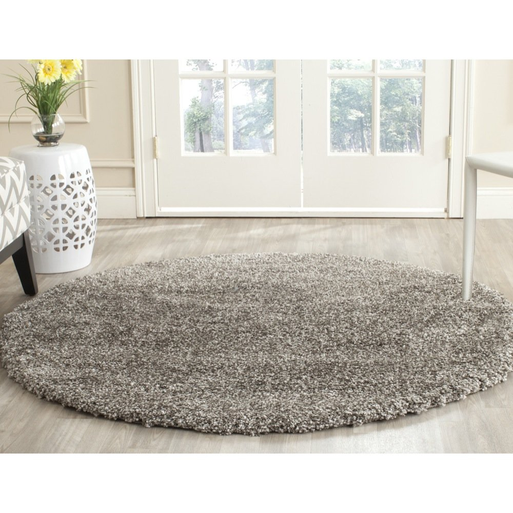 Safavieh Milan Shag Collection SG180-8080 Grey Round Area Rug (7' Diameter) product image