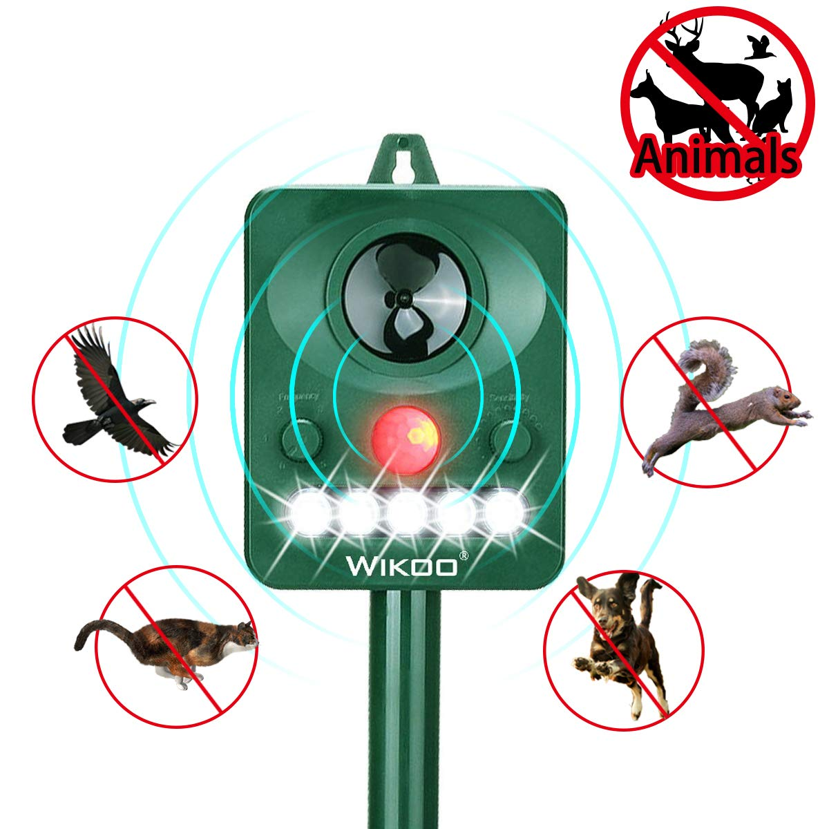 Wikoo Ultrasonic Animal Repeller,Solar Powered repellent,Activated with Motion,Ultrasonic and Flashing LED lights Outdoor Waterproof repellent for Dogs,Cats,Foxes,Mice,Birds,Skunks,Etc.