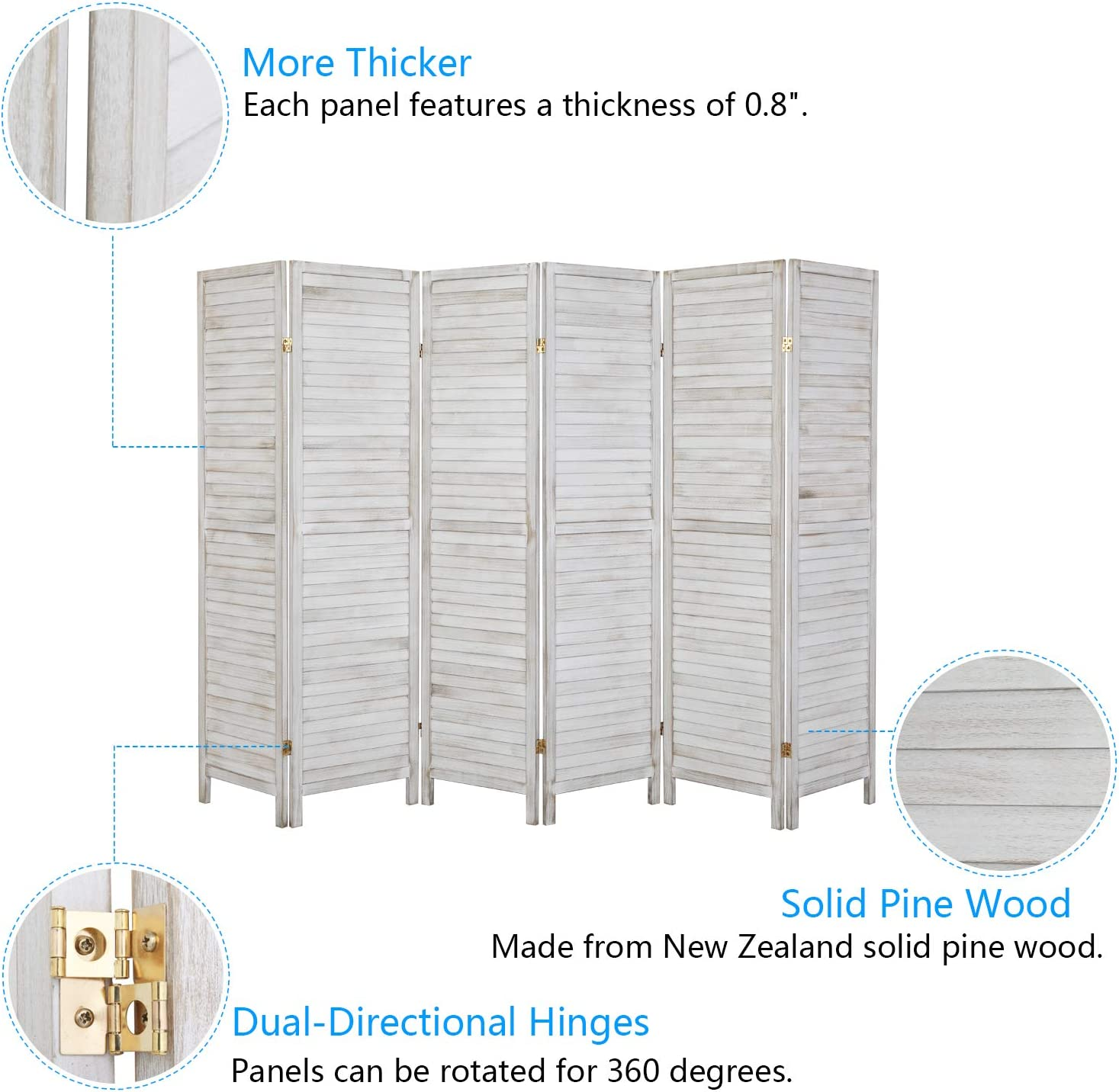 Greyish White, 4 Panel 6FT Tall Indoor Room Dividers and Folding Privacy Screens for Home Office Bonnlo Upgraded Heavy Duty Folding Pine Wood Room Divider Screens Restaurant Bedroom