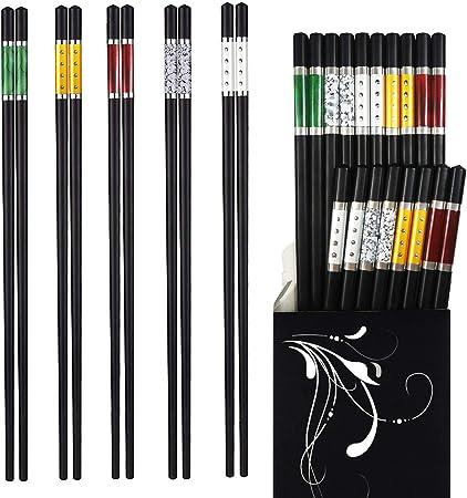 Annvchi - Palillos para Comer (10 Pares, Acero Inoxidable, Palillos Chopsticks japoneses), Color Negro: Amazon.es: Hogar