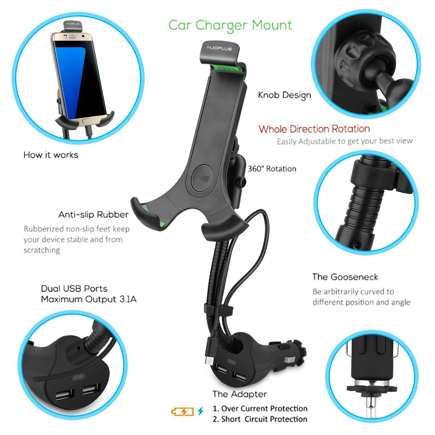 AUOPLUS Gooseneck Car Outlet Mount Cigarette Lighter Phone Holder Charger with Built-in Charging Cord for Samsung Galaxy and More Android Smartphones by AUOPLUS (Image #3)