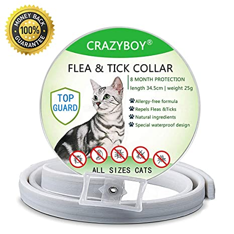 CRAZYMAN - Prevención de pulgas y garrapatas para Gatos, protección de 8 Meses, antialérgico
