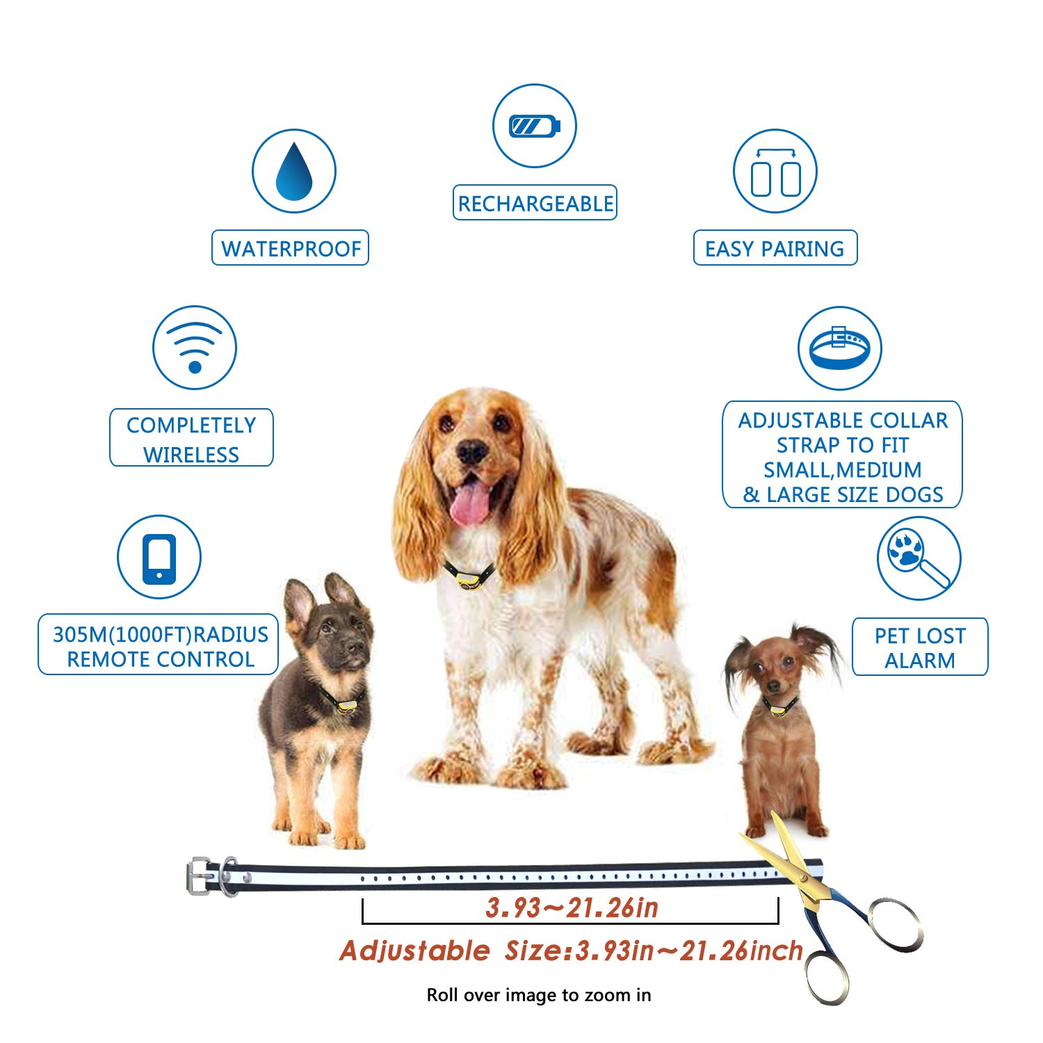 Wireless Dog Fence Electric Pet Containment System, Safe Effective No Randomly Shock Design, Adjustable Control Range 1000 Feet & Display Distance, Rechargeable Waterproof IPX7 Collar (2 Dog System) by JUSTSTART (Image #6)