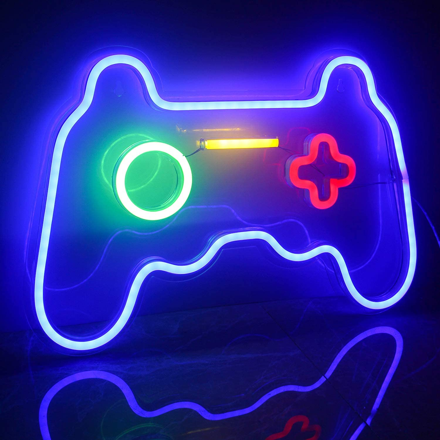 ineonlife Game Shaped Neon Signs Neon Lights LED Neon Signs for Wall Decor 16''x 11'' Gamepad Neon Signs for Bedroom Children Gaming Zone Party Decoration