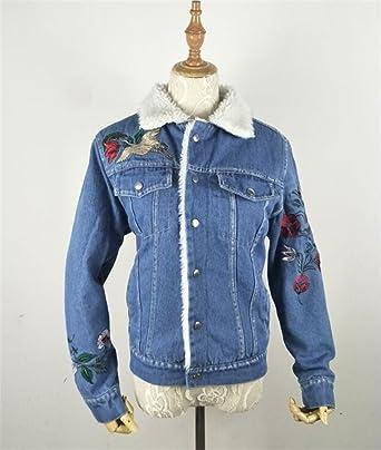 Ivan Johns Vintage Denim Jacket Women Embroidered Lamb Wool Coat Patch Design Single Breasted Jean Jacket