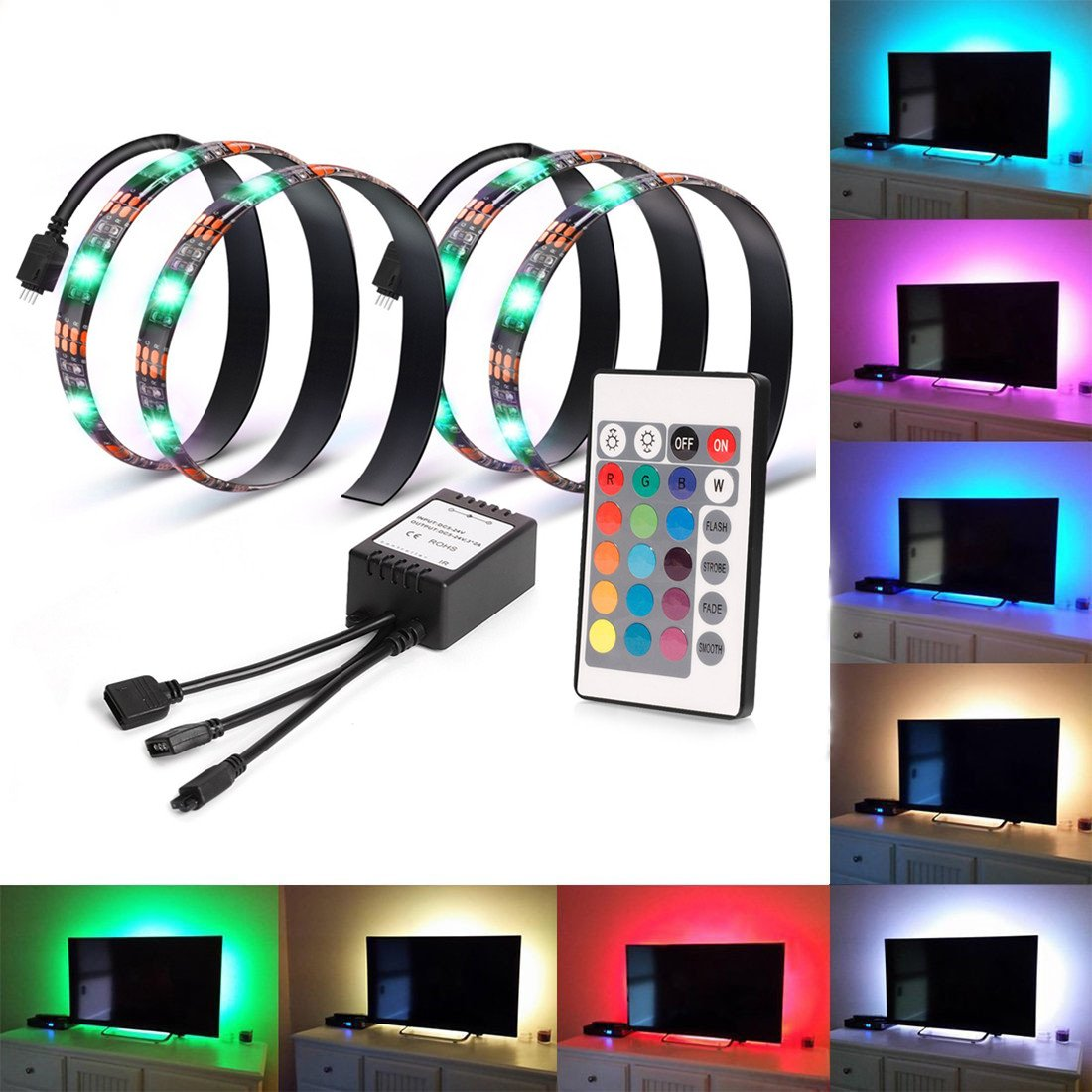Smartdio Bias Lighting for HDTV - 2 USB LED Backlight Bright RGB Multi Color Strip With Remote Control for Flat Screen TV LCD, Desktop Monitors (Reduce eye fatigue and increase image clarity)